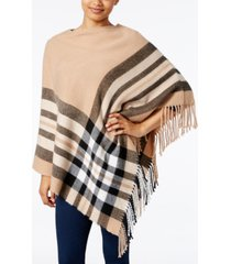 v. fraas plaid brushed poncho, created for macy's
