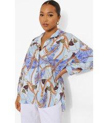 plus oversized kettingprint blouse, blue