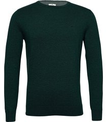 basic crew n stickad tröja m. rund krage grön tom tailor