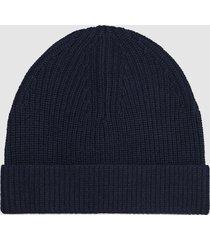 reiss raff - ribbed beanie hat in navy, mens