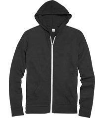 alternative apparel men's black modern fit full zip eco jersey hoodie - size: large