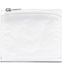 maison margiela crinkle-effect leather wallet - white