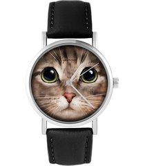 zegarek - kot tygrysek - czarny, skóra