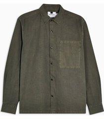 mens khaki one pocket popper oversized shirt
