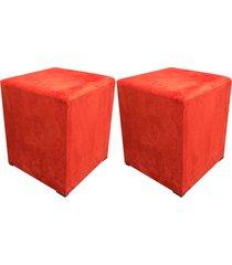 kit 02 puff decorativo dado quadrado suede laranja - d'rossi