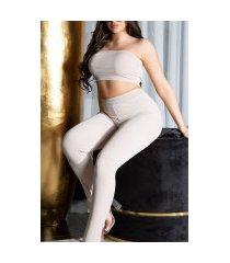 sexy 2 piece set- bandeau top en broek beige