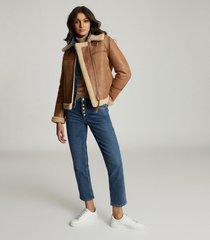 reiss margot - reversible shearling aviator jacket in tan, womens, size l