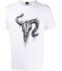 just cavalli bull head logo t-shirt - white