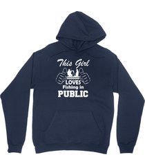 this girl fishing in public shirt outdoor sporting unisex navy blue hoodie sweat