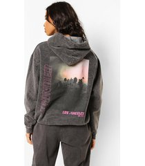 overdye sunset hoodie met rugopdruk, charcoal