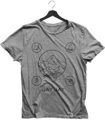 camiseta básica jay jay wild camping cinza mescla dtg