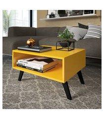 mesa de centro para sala ou escritório com nicho amarela