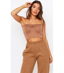 ruched front bandeau top, camel