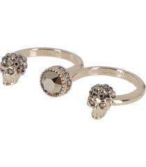 alexander mcqueen gold-tone steel skull double ring