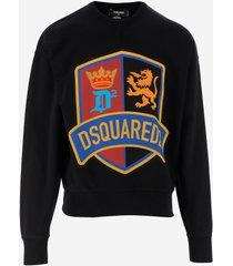 dsquared2 designer sweatshirts, black cotton men's sweatshirt w/signature