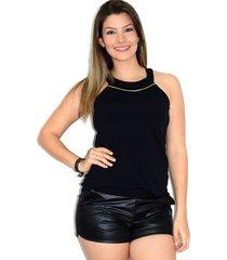 blusa up side wear de alcinha preta