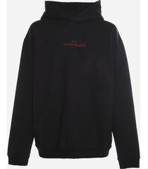 maison margiela cotton sweatshirt with embroidered logo