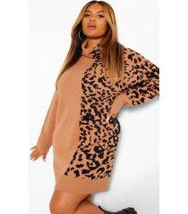 plus luipaardprint jacquard trui jurk met col, tan