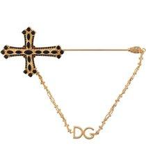dolce & gabbana broche com crucifixo - dourado