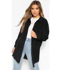 petite oversized corduroy blouse met onbewerkte zoom, black