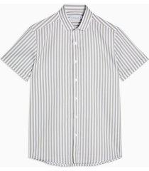 mens khaki bengal slim stripe shirt