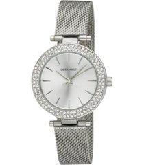 laura ashley ladies' t-bar case double stone bezel silver mesh band watch