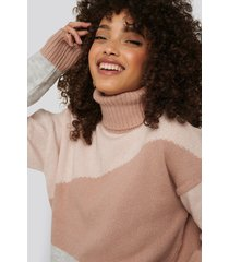 na-kd trend split colour chunky polo sweater - pink