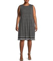 plus dot-print pleated knee-length dress