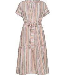 linen-cotton ruffle midi dress knälång klänning rosa gap