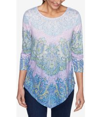 ruby rd. women's misses knit embellished paisley top