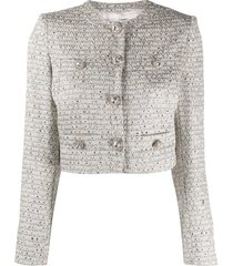 alessandra rich cropped long sleeve jacket - silver