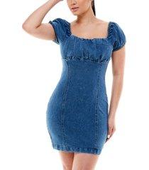 rosie harlow juniors' cotton denim puff sleeve dress