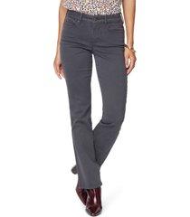 women's nydj marilyn straight leg stretch jeans, size 12 - grey