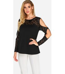 black cut out lace insert long sleeves t-shirt