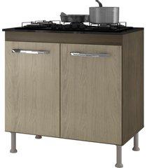 balcão para cooktop 4 bocas catarina 2 portas castanho/avelã - ajl móveis
