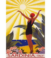sardinia italy sunshine beach girl saluting sun sail travel vintage poster repro