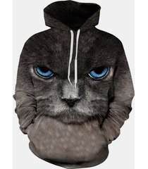felpe con cappuccio per le donne 3d print cat