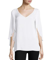 milly women's stretch-silk crepe top - white - size 0