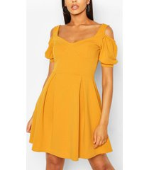 cold shoulder cup detail skater dress, mustard