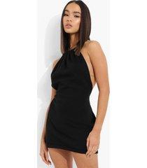 gebreide space dye jurk met halter neck, black