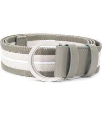 lorena antoniazzi striped ring-buckle belt - grey