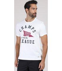 """camiseta masculina """"champs league"""" manga curta gola careca branca"""