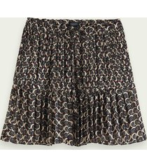 scotch & soda pleated mini skirt with all-over print