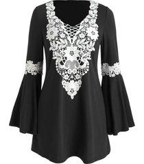 crochet panel flare sleeve tunic dress