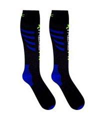 meia de compressão ciclismo esportiva duck meias preta com azul .
