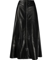 drome front-zip midi skirt - black