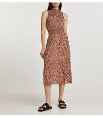 river island womens brown shirred waist animal print midi dress