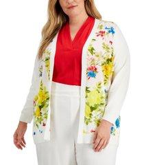 calvin klein plus size floral-print cardigan