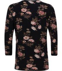 camiseta con estampado floral manga 3/4 color negro, talla xs
