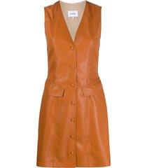 nanushka menphi vegan leather dress - brown